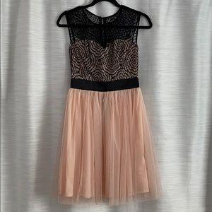 Champagne and Black Web Lace Dress